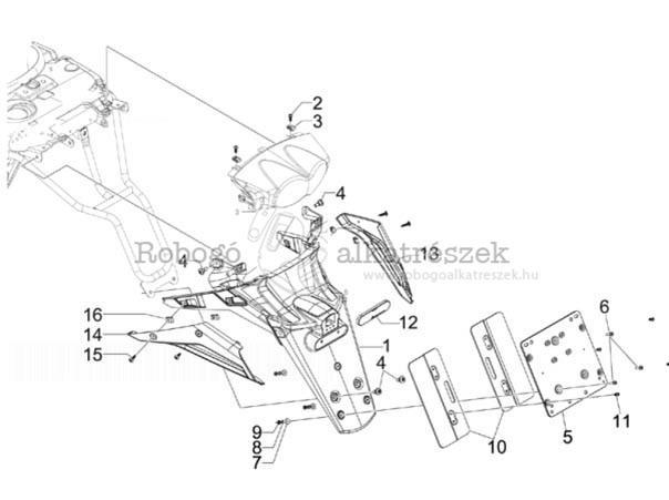 Gilera GP800 M.Y. M554M 2010-2011 ZAPM55100 Hátsó burkolat