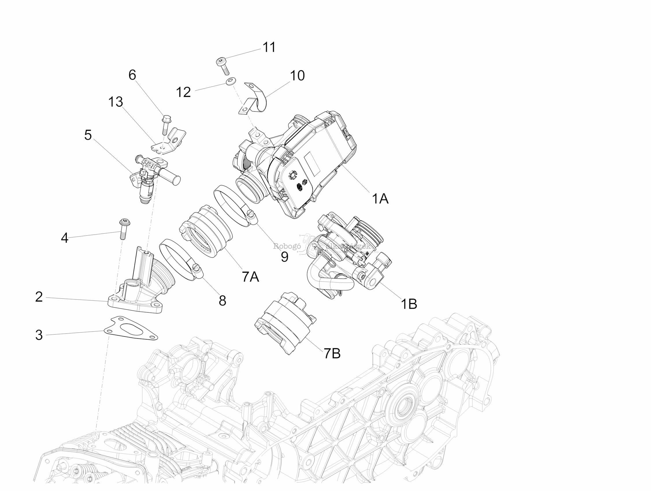 Throttle Body - Injector - Union Pipe - Piaggio Liberty 125