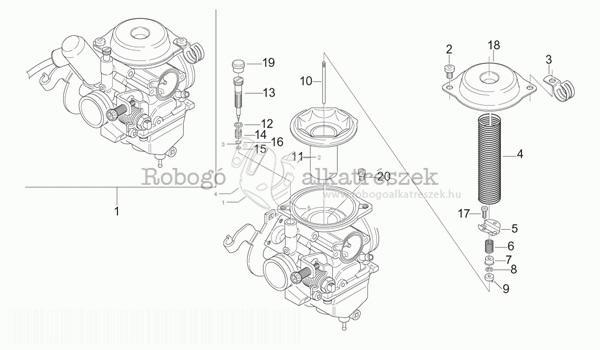 APRILIA LEONARDO 125 - 150 ST 2001-04 ZD4MBA5 Karburátor alkatrészei 1.