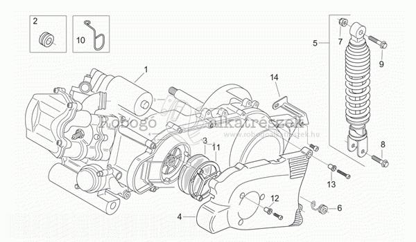 APRILIA LEONARDO 125 - 150 ST 2001-04 ZD4MBA5 Motor alkatrészek