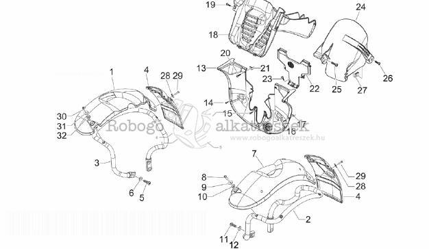 Piaggio MP3 300 4T 4V IE LT IBRIDO M652M 2010-2013 ZAPM72100 Kerék burkolat - sárvédő