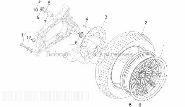 Piaggio MP3 300 4T 4V IE LT IBRIDO M652M 2010-2013 ZAPM72100 Hátsó kerék - tárcsafék