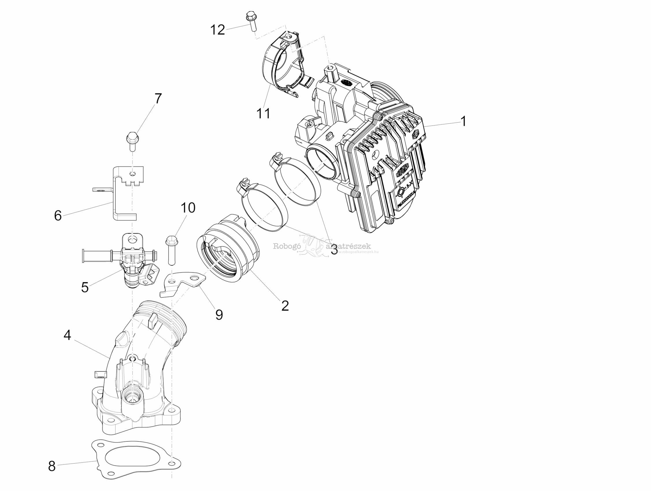 Throttle Body - Injector - Union Pipe - Piaggio MP3 500 LT